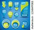 Blue and green special offer and sale labels and stickers with shadow - stock vector