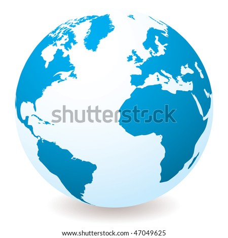 Blue and white earth globe with drop shadow and white background