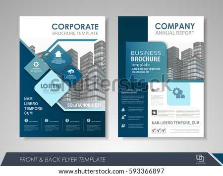 Front Back Page Annual Report Brochure Stock Vector