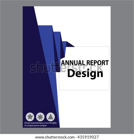 Blue Annual Report Title Page Sample Stock Vector 435919024