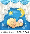 Blue baby shower card with sweet sleeping newborn baby - stock vector