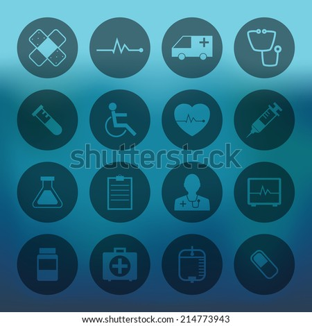 Blue background with circle Medical Icons Collection set