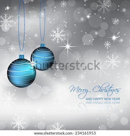 Blue bauble, snowflakes and bubbles on a christmas background, design for your greeting card and happy holiday/vector illustration