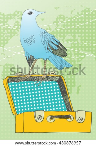 Blue bird and yellow suitcase
