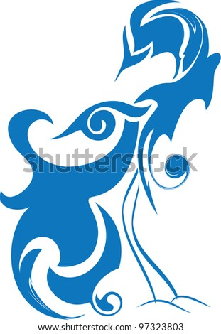 blue bird of happiness, birds of paradise, abstract stylized bird ...