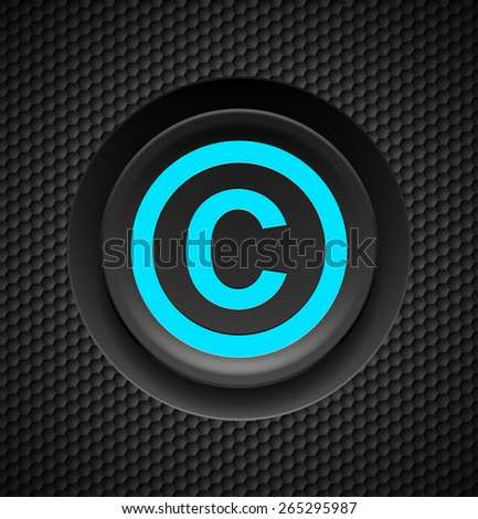 Blue button copyright symbol on a black textured background