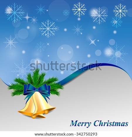 Blue Christmas background with bells and snowflakes