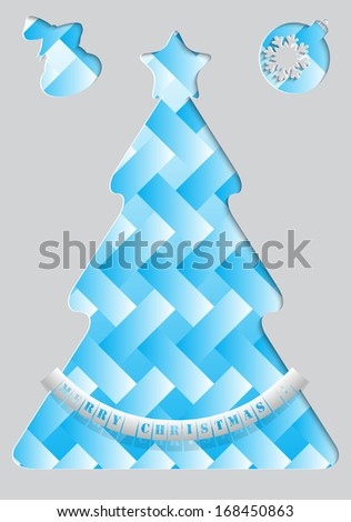 Blue Christmas tree made of paper