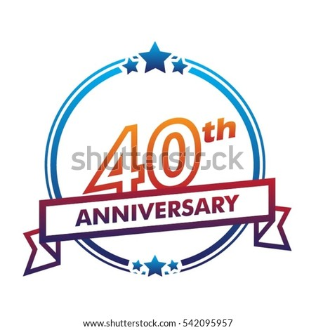 blue circle and star with purple ribbon 40th anniversary design vector