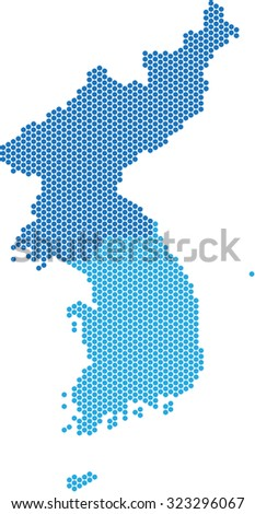 Blue circle shape North and South Korea map on white background, vector illustration.