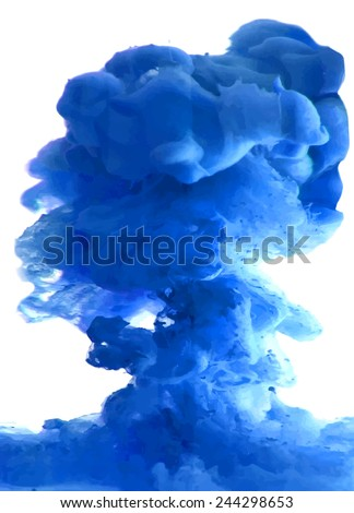 Blue cloud of ink swirling in water. Abstract background