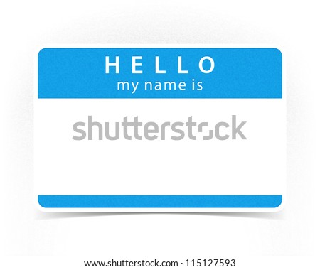 Blue Name Tag Blank Sticker Shadow Stock Vector 52643383 ...