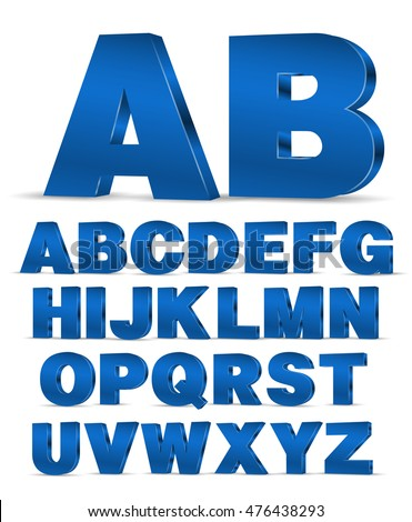 Blue colored 3D style decor poster typeface vector font. Set of latin capital letters and numbers