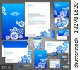 Blue corporate identity template with cogwheels. Vector company style for brandbook and guideline. EPS 10 - stock vector