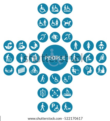 Blue cruciform disability and people Icon collection