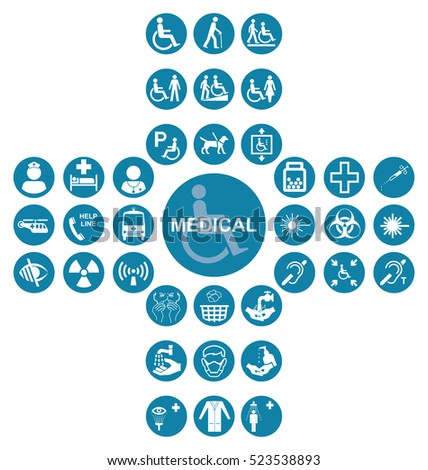 Blue cruciform Medical and health care related icon collection isolated on white background