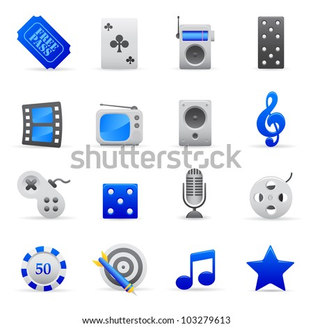Blue Entertainment Icons Professional vector set of entertainment for your website, application, or presentation. The graphics can easily be edited colored individually and be scaled to any size