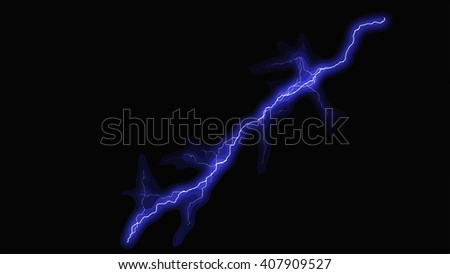 Blue fantasy lightning sparks on a black background
