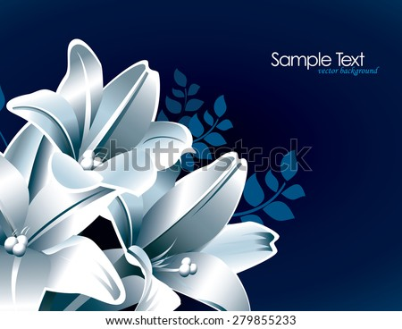 Blue Floral Background with White Lily Flowers.