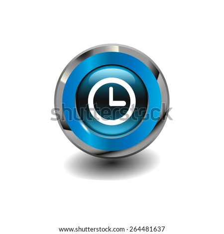 Blue glossy button with metallic elements and white icon clock, vector design for website