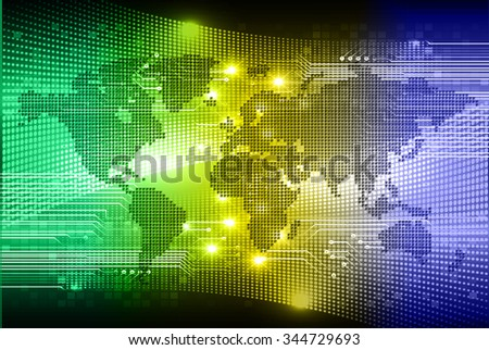 blue green yellow Light Abstract Technology background for computer graphic website internet business. circuit. illustration. infographics. binary code background. www. vector.World map, Global