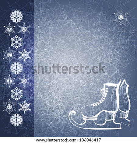 Blue grunge winter background with snow flakes and skate boots. EPS10 ...