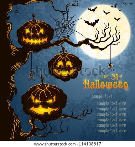 Blue grungy halloween background with scary pumpkins on a tree branch, full moon, and bats.  Vector Illustration.