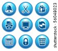 Blue internet icons 7 - stock vector