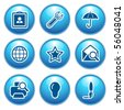 Blue internet icons 9 - stock vector