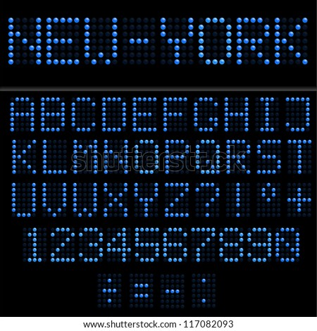 Blue led vector alphabet and numbers