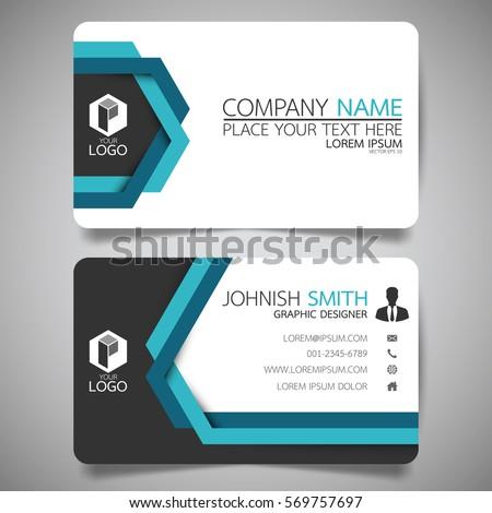 Blue hexagon modern creative business card stock vector for Queue cards template