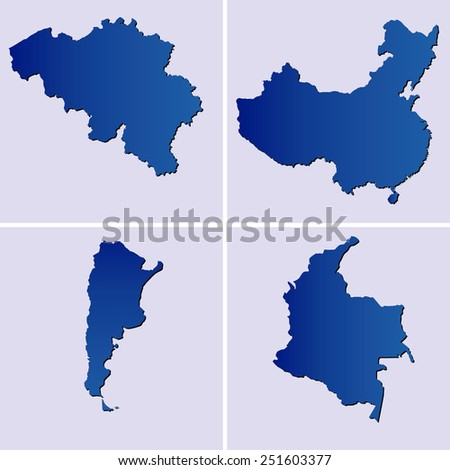 blue maps of belgium, china, argentina and colombia on light blue backgrounds