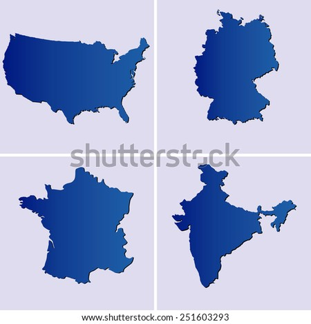 blue maps of usa, france, germany and india on light blue backgrounds