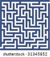 Blue maze - stock vector
