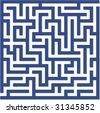 Blue maze - stock photo
