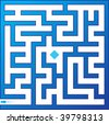 Blue maze. Vector illustration. - stock vector