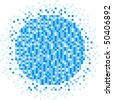 Blue pixels in the form of sphere - stock vector
