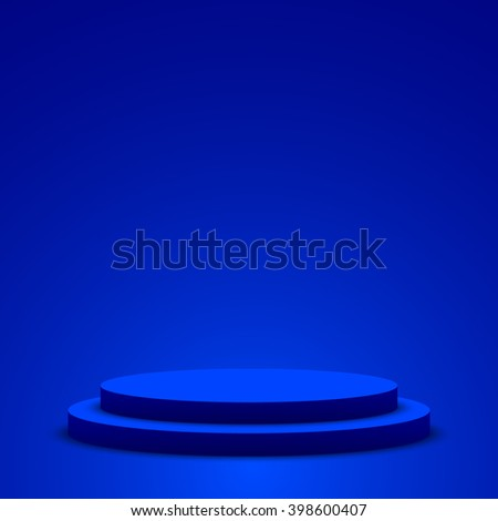 Blue podium. Pedestal. Scene. 3D. Vector illustration.