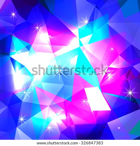Blue polygonal mosaic background. Crystal background. Low poly style vector illustration