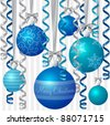 Blue ribbon and bauble inspired Christmas card in vector format. - stock vector