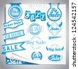 blue sale labels set - stock vector
