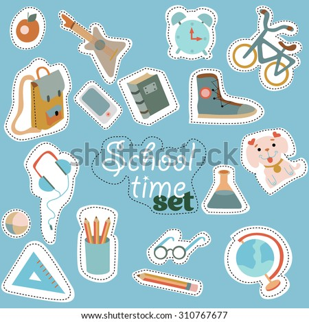 Blue school time sticker vector set