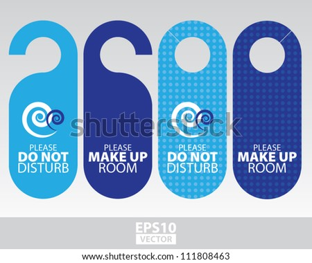 Blue Sea Door Hangers for Room in Beach Resort and Hotel - EPS10 Vector