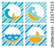 blue sea labels, vector collection - stock vector