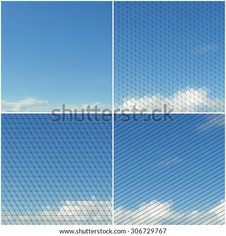 Blue sky with clouds. Collection of abstract multicolored backgrounds. Natural geometrical patterns. Triangular and hexagonal style vector illustration.