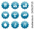 Blue sticker set 12 - stock vector