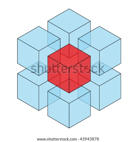 Seamless pattern blue three dimensional cubes stock vector for 3 dimensional cube template