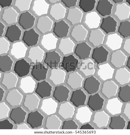Blue tiles. Seamless pattern with grey hexagons
