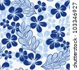 Blue Tropical Flowers Pattern - stock vector