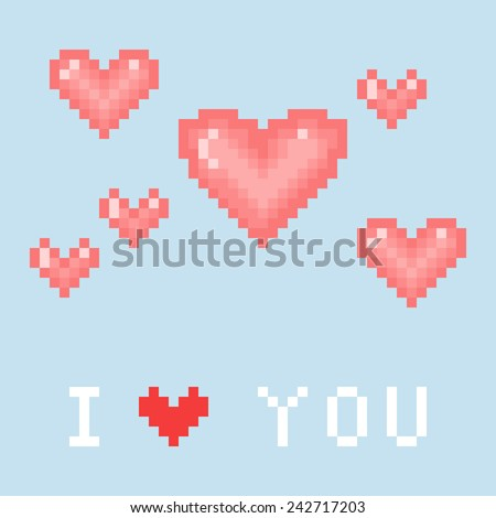 Blue Valentine's day card with pixel hearts. Vector illustration